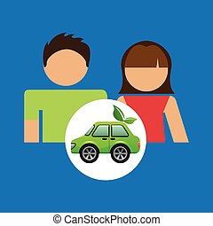 couple with eco car green design