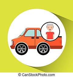 old man pickup truck icon vector illustration eps 10