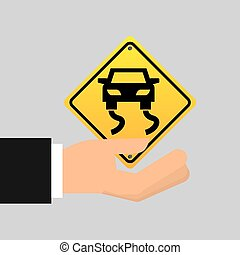 road sign slippery car icon