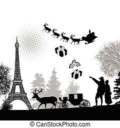 People in Paris with santa claus and deers