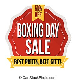 Boxing day label or sticker on white background, vector...