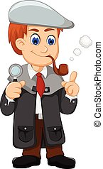 cute detective cartoon smooking with magnifying glass