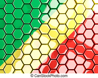 Flag of republic of the congo, hexagon mosaic background. 3D...