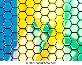 Flag of saint vincent and the grenadines, hexagon mosaic...