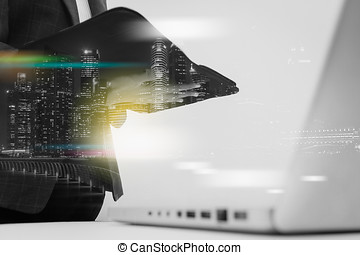 Double exposure of business woman recheck document or planing data about accounting staff recheck data before approve document.