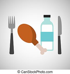 fresh eating chicken thigh bottle water vector illustration...