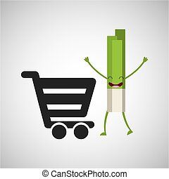 concept market buy fresh celery vector illustration eps 10
