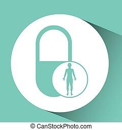 silhouette person medical capsule icon design vector...