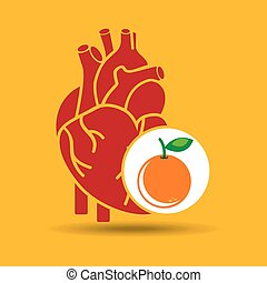 concept healthy heart orange icon