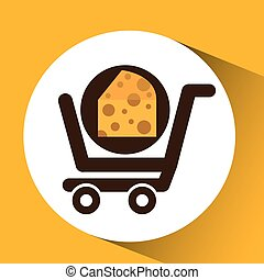 cart buy delicious cheese food vector illustration eps 10