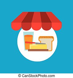 shopping online breakfast food vector illustration eps 10