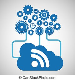 cloud network wifi technology connection design vector...