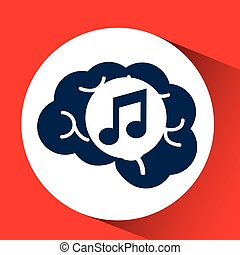 concept network, silhouette head with media music icon...