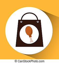 bag shopping chicken thigh icon vector illustration eps 10