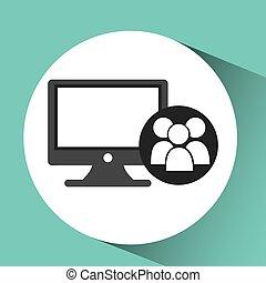 computer network desktop group vector illustration eps 10
