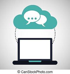 computer cloud bubble speak connection network