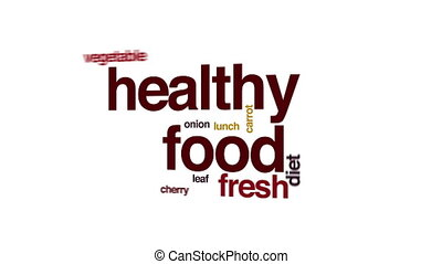 Healthy food animated word cloud.