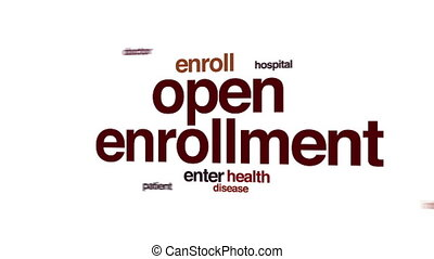 Open enrollment animated word cloud.