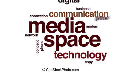 Media space food animated word cloud.