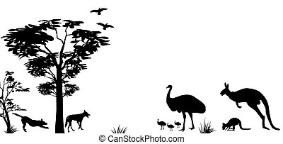 wild animals of Australia kangaroo,emu and dingos -...
