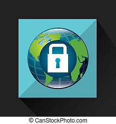 earth global padlock security data connected media vector...