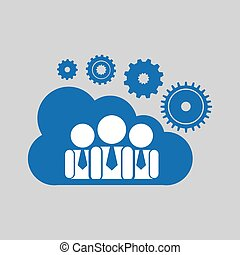 cloud network group cooperation connection design vector...