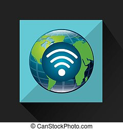 globe world internet connection service vector illustration...