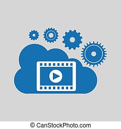 cloud network play movie connection design vector...