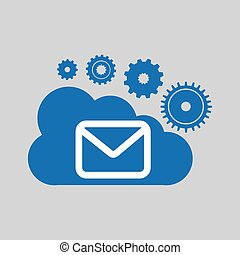 cloud network email message connection design vector...