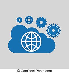 cloud network globe earth connection design vector...