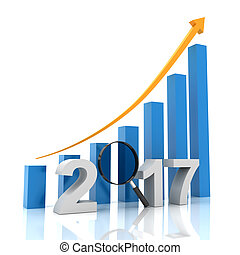 Growth chart for 2017 with magnifying glass, 3d render