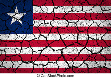 Liberia flag painted on a cracked ground