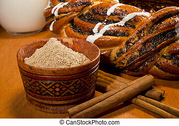 Braided roll with poppy seeds and cinnamon