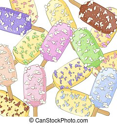 Sweet ice cream closeup - Ice cream on a stick with...