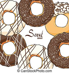 Delicious chocolate donuts - Sweet donuts with chocolate...