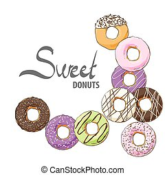 Doughnuts of various tastes and topping for children and...