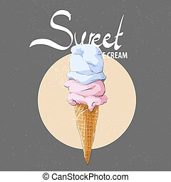 Delicious ice cream in a waffle cone - Sweet ice cream in a...