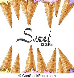 Waffle cones for ice cream on a white background