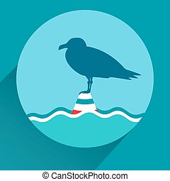 Vector flat icon of seagull