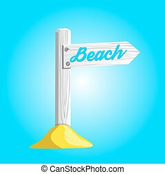 Vector white wooden sign pointing to the beach.