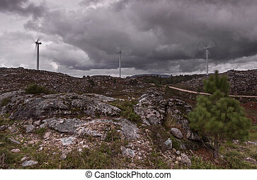 wind farm on the top of the mountain