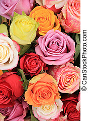 Multicolored wedding roses - Multicolored roses in a...