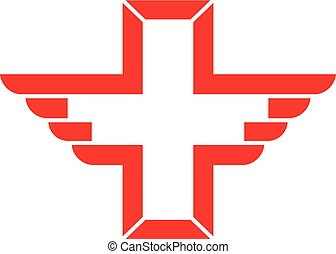 Vector wing cross health icon