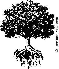 Trees And Roots silhouette vector - creative Trees And Roots...