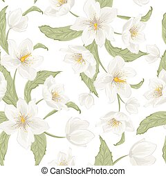 Hellebore flower seamless pattern watercolor white -...
