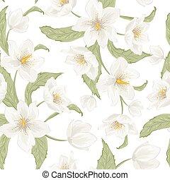 Hellebore flower seamless pattern watercolor white -...