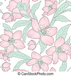 Hellebore floral seamless pattern pink green white -...