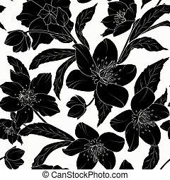 Hellebore floral seamless pattern black tattoo - Hellebore...