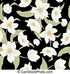Christmas rose hellebore flowers pattern on black -...
