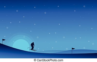 At night happy people skiing in snow landscape